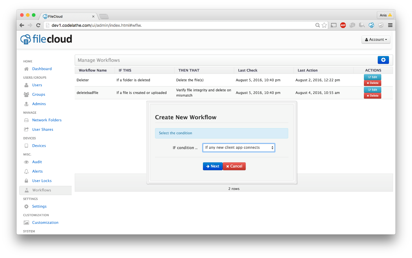FileCloud v13 workflow automation