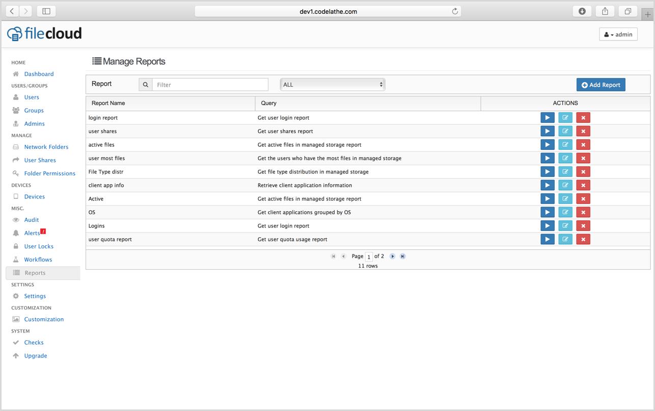 FileCloud Admin Reports